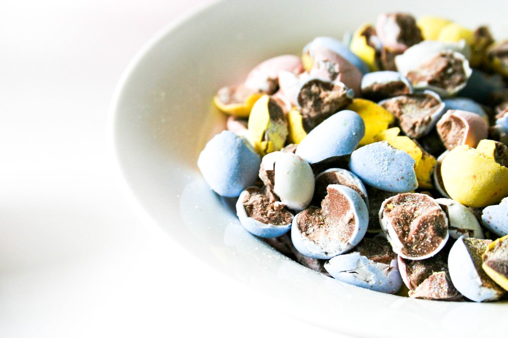 Crushed Cadbury Mini Eggs in a Bowl