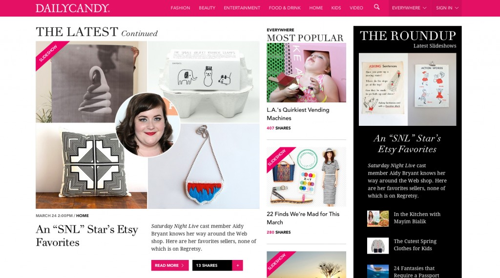 Daily Candy Aidy Bryant Etsy Finds