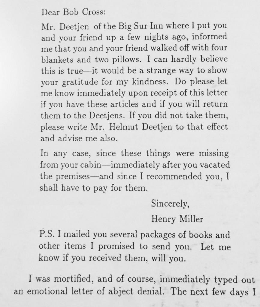Henry Miller Deetjans Big Sur Inn