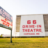 Route 66 Drive in Theatre screen and neon sign in Carthage, Missouri