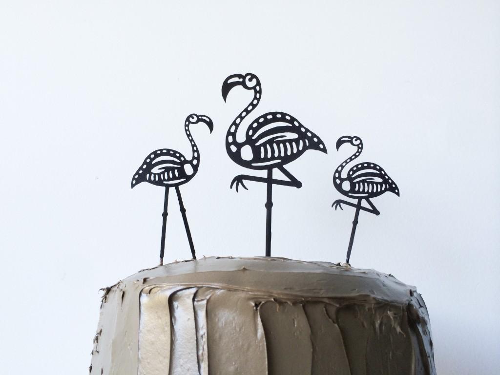 Halloween Skeleton Flamingo Cake Toppers - Legal Miss Sunshine