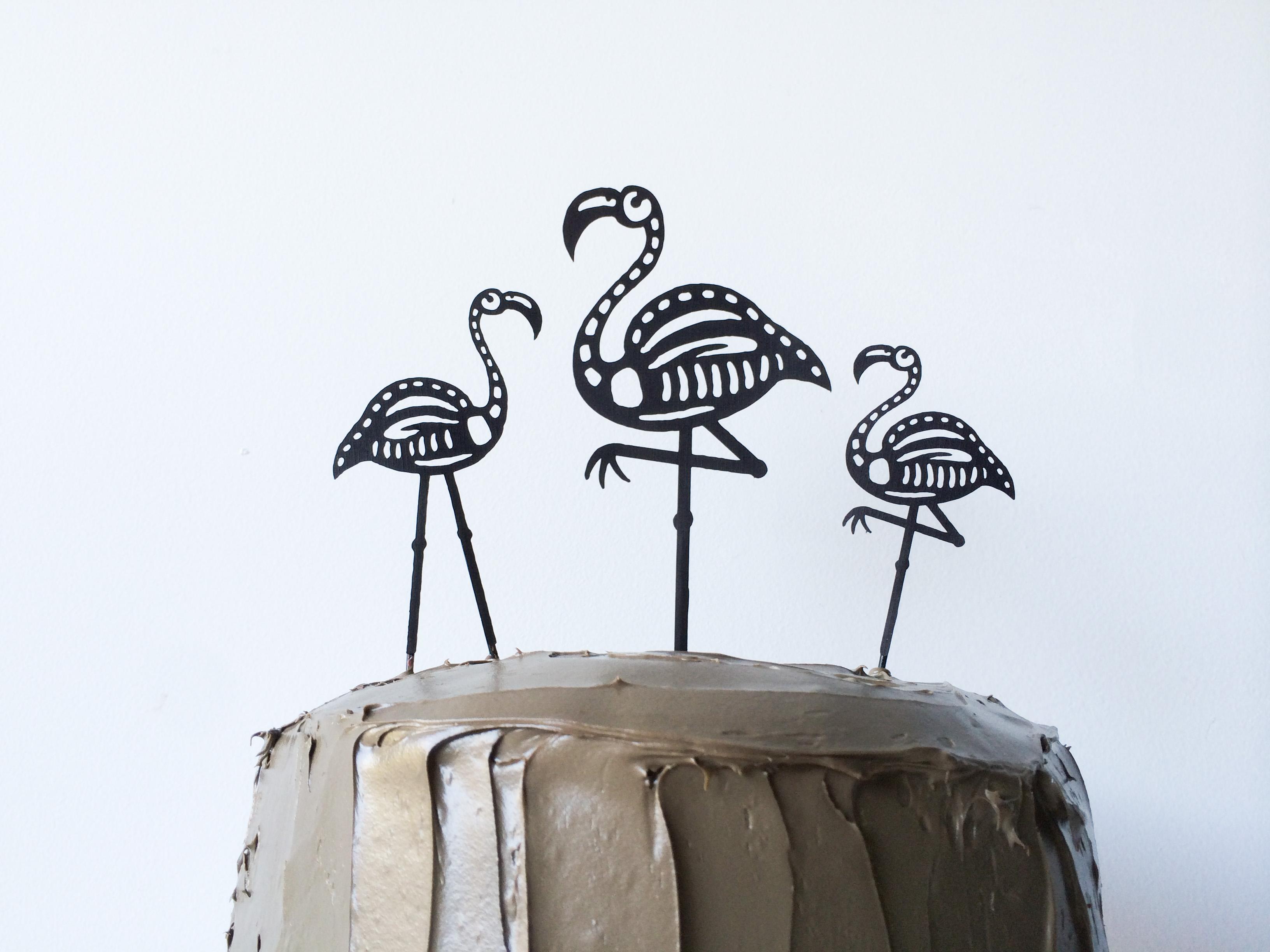 diy skeleton flamingo cake toppers