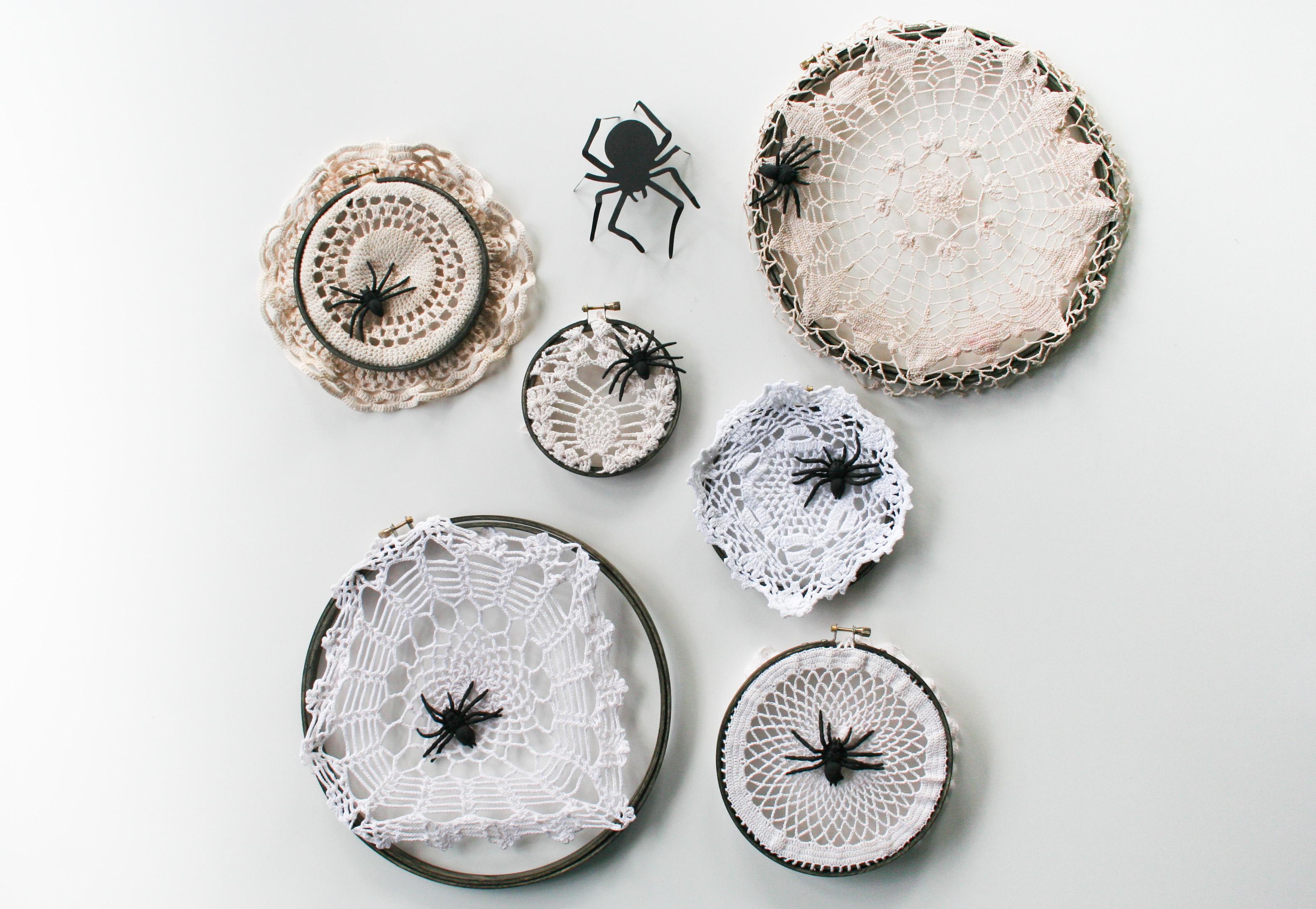 diy halloween doily spider webs