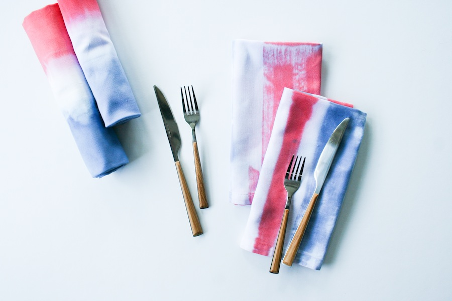 DIY Red White and Blue Dip-Dyed or Painted Napkins // Legal Miss Sunshine