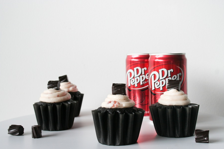 Black Velvet Dr Pepper Cupcakes with Cherry Cream Cheese Frosting // Legal Miss Sunshine
