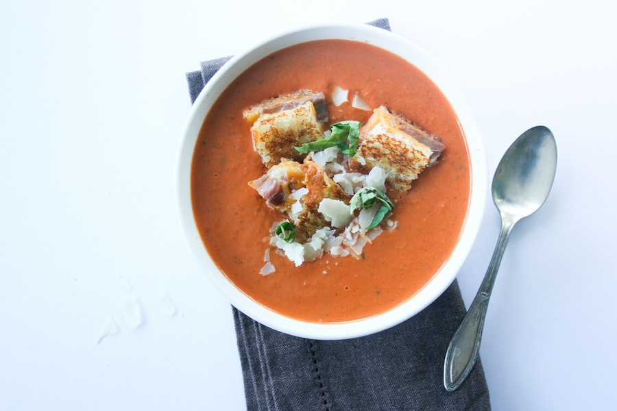 This Creamy Tomato Basil Soup with Grilled Cheese Prosciutto Croutons ...