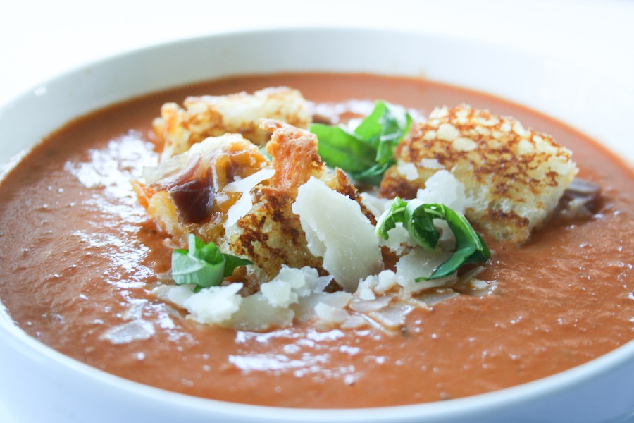 Tomato Basil Soup with Grilled Cheese Prosciutto Croutons Recipe // Legal Miss Sunshine