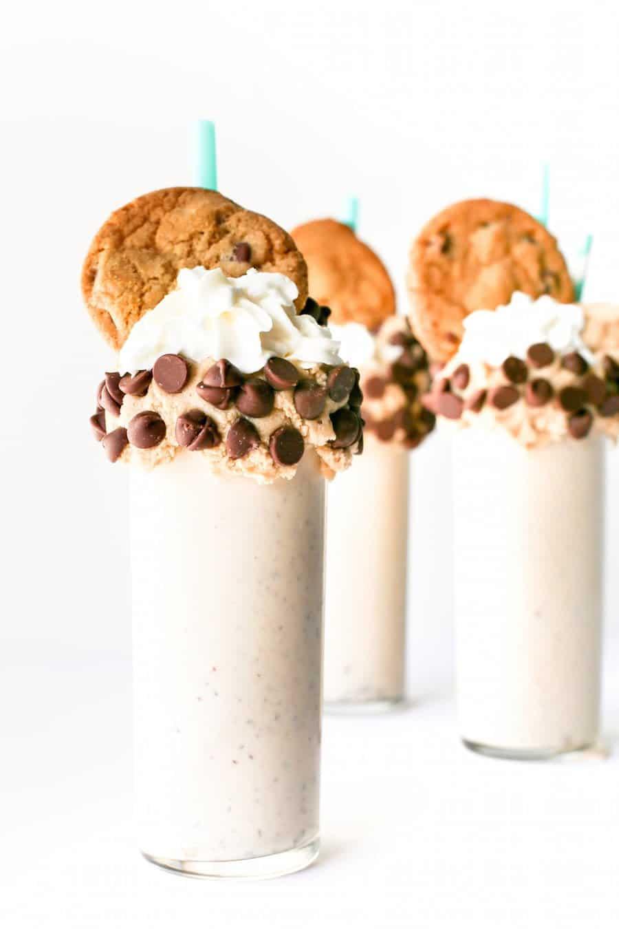 Chocolate Chip Cookie Dough Milkshake, Edible Cookie Dough, Raw Cookie Dough Milkshake, Cookie Dough Vanilla Milkshake, Over the Top Freakshake, Cookie Milkshake, Recipe, Make at Home, Salty Canary