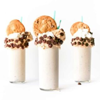 Chocolate Chip Cookie Dough Milkshake, Edible Cookie Dough, Raw Cookie Dough Milkshake, Cookie Dough Vanilla Milkshake, Over the Top Freakshake, Cookie Milkshake, Recipe, Make at Home, Salty Canary