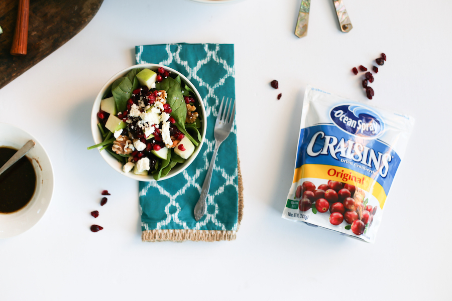 Cranberry Apple Winter Spinach Salad