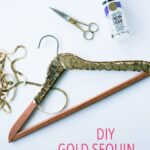 DIY Gold Sequin Hanger