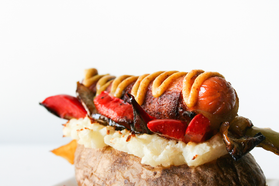 Outrageously Overstuffed Baked Potatoes // Bacon-Wrapped Hot Dog