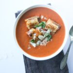 Creamy Tomato Basil Soup with Grilled Cheese Prosciutto Croutons