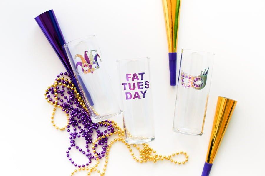 DIY Mardi Gras Milkshake Glasses // Salty Canary