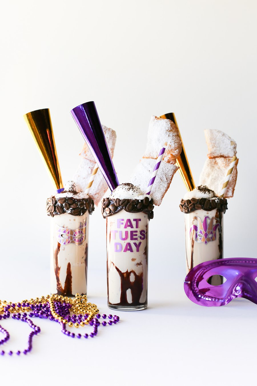 Mardi Gras Milkshakes // Coffee Milkshakes topped with Beignets // Salty Canary