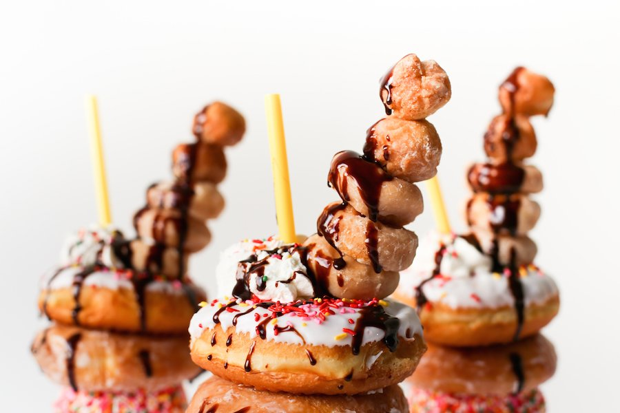 Over-the-Top Donut Milkshake, Freakshake, Breakfast Milkshake, Decadent Donut Milkshake, Donut Dessert, Milkshake, Dessert Recipe, Dessert for Sharing