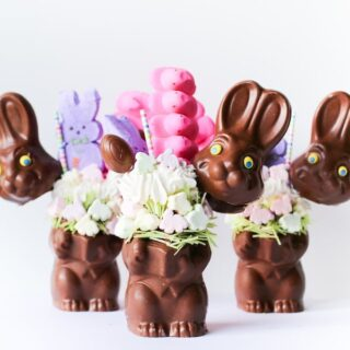Instead of making an Easter basket, just throw it all into an Easter Bunny Basket Milkshake! A Peeps milkshake inside of a hollow chocolate Easter bunny!