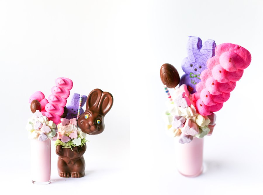 Chocolate Easter bunny filled with a delicious Peeps milkshake // Salty Canary