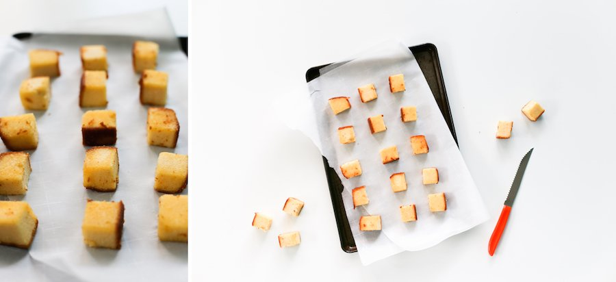 Try this throwback recipe with a fun twist: Ambrosia Salad with Pound Cake Croutons! Perfect for brunches, pool parties, tiki parties, or outdoor grilling! // saltycanary.com