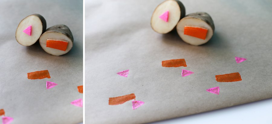 Upgrade your table cloth and brush up on your grade school art skills with this quick and easy DIY Potato Stamp! // Salty Canary