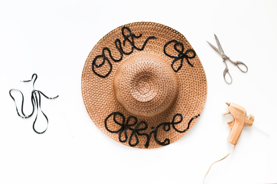 DIY Word Saying Sequin Beach Hat // Salty Canary