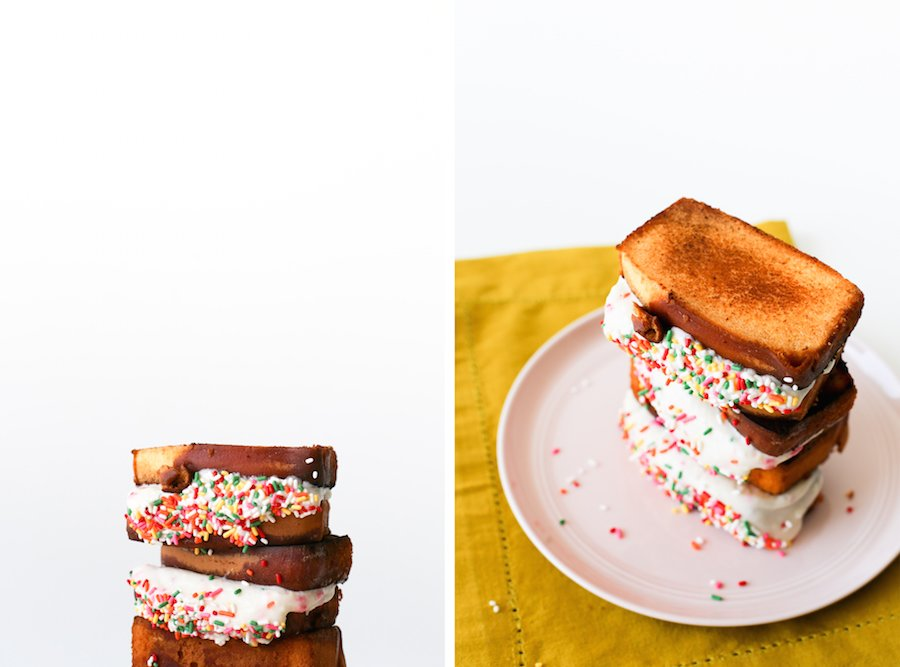 Make a Funfetti Grilled Cheese Sandwich for dessert with pound cake, cream cheese, and a whole lotta rainbow sprinkles // Salty Canary