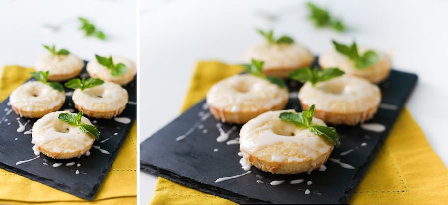 Celebrate the Kentucky Derby at home with these Mint Julep Donuts! A minty lemon baked donut with a delicious bourbon glaze! // saltycanary.com