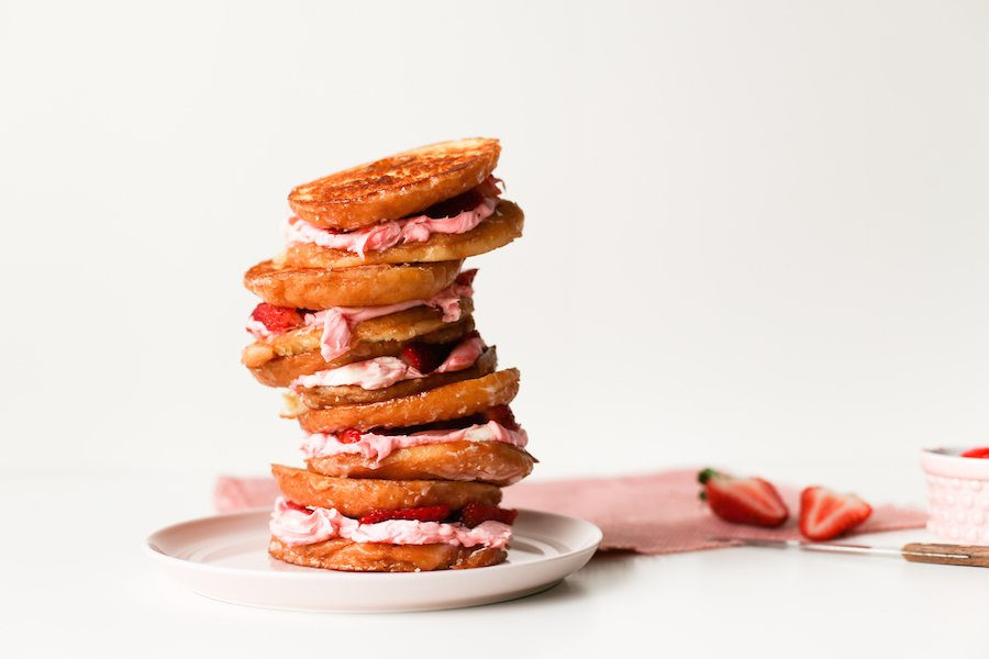 Celebrate Grilled Cheese Month with this Strawberry Mascarpone Grilled Cheese Donut for breakfast or dessert! // saltycanary.com