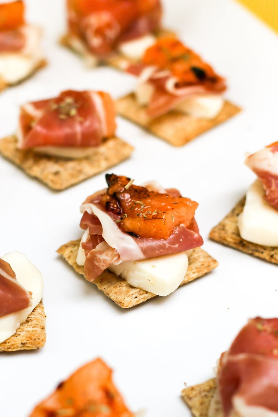 Cantaproscimozzcuits. That's grilled cantaloupe with prosciutto and mozzarella cheese on a TRISCUIT.