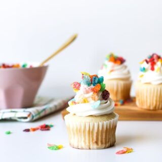 Cereal Milk Cupcakes! Best part? Made from a box mix! // saltycanary.com