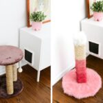 Hate your brown, ugly, carpeted cat scratching post? DIY a new one! And make it ombré pink! // saltycanary.com