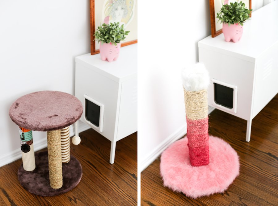 hate the brown ugly cat scratching posts diy one and make it pink