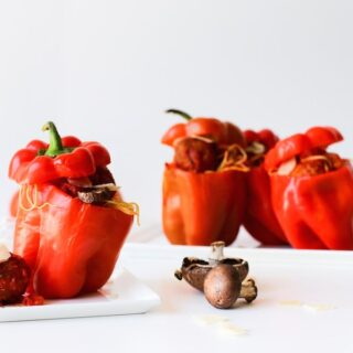 Try this comfort food mash-up: Spaghetti and Meatball Stuffed Bell Peppers! // Salty Canary