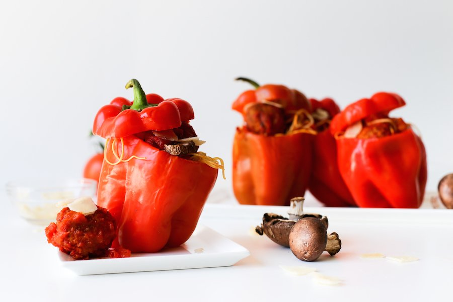 Spaghetti and Meatball Stuffed Bell Peppers Recipe // Salty Canary
