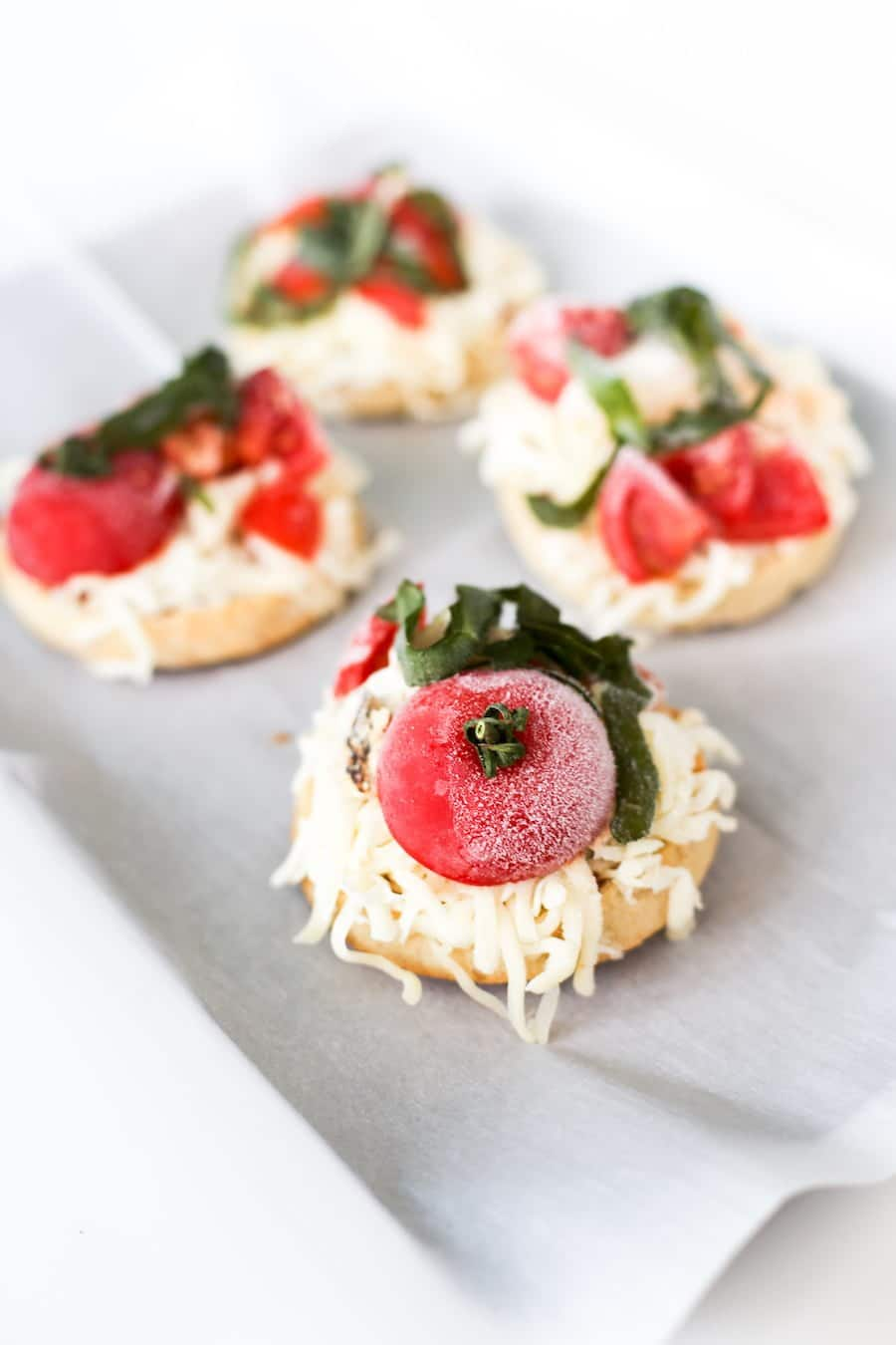 Tomato & Basil English Muffin Frozen Pizza Recipe // Salty Canary