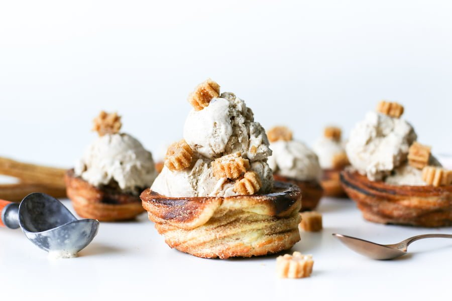 Go for churro overload and make this homemade Churro Ice Cream in homemade Churro Bowls! // Salty Canary