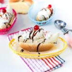 Hot Dog Bun Banana Split Ice Cream Sundae // Salty Canary