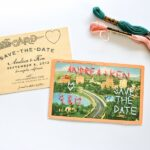 DIY Embroidered Save the Date Wedding Postcards