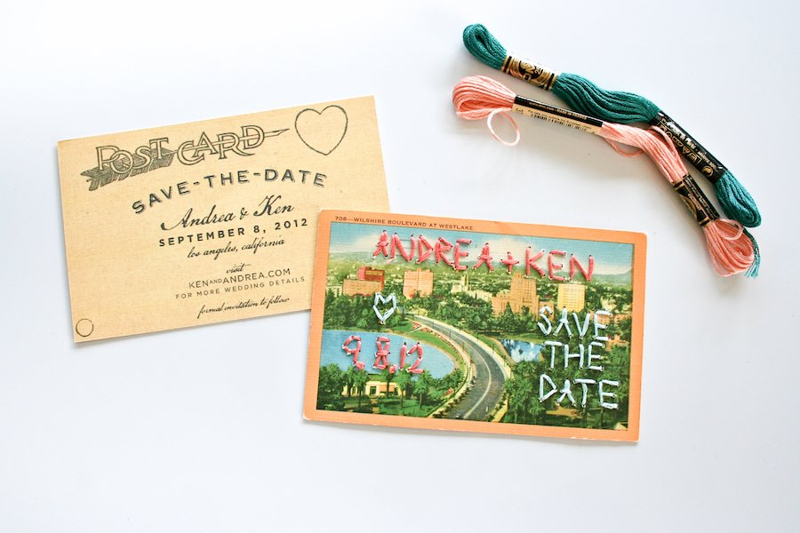 Embroidered Save The Date Wedding Postcards Salty Canary