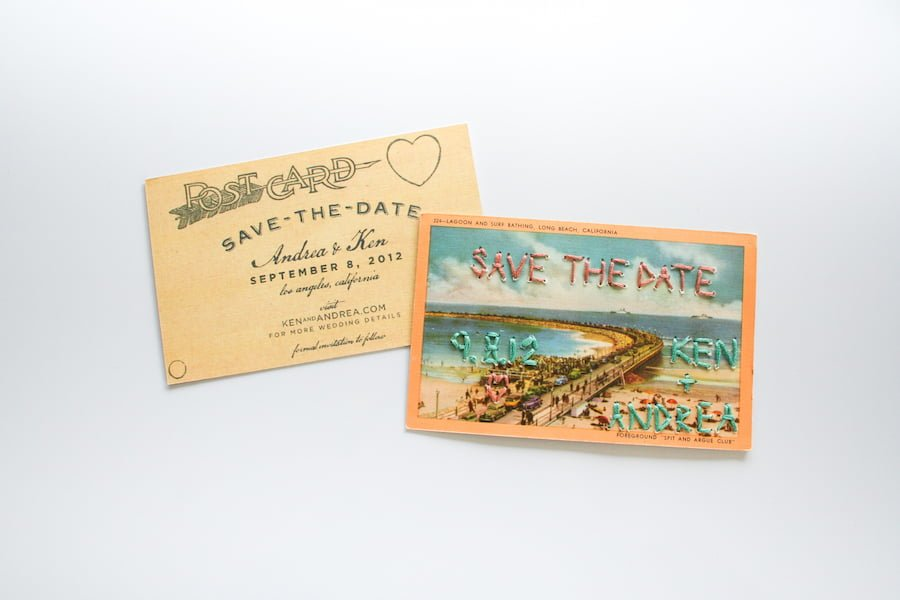 Embroidered Save the Date Wedding Postcards // Salty Canary