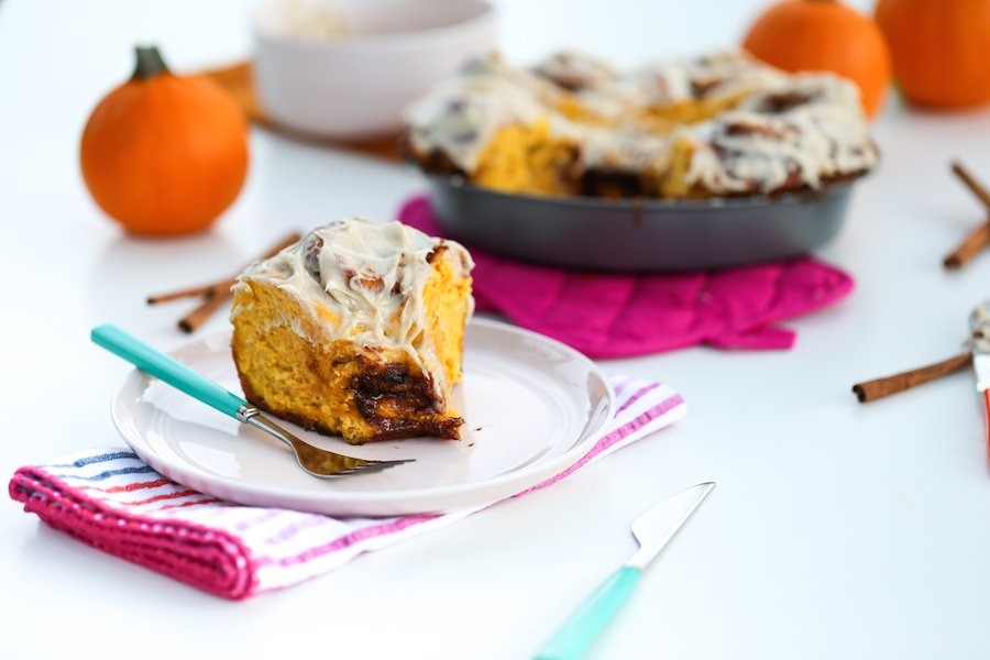 Pumpkin Spice Cinnamon Rolls with Cinnamon Cream Cheese Frosting // Salty Canary