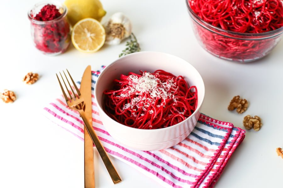 Beet Root Pink Pesto Pasta Recipe // Salty Canary