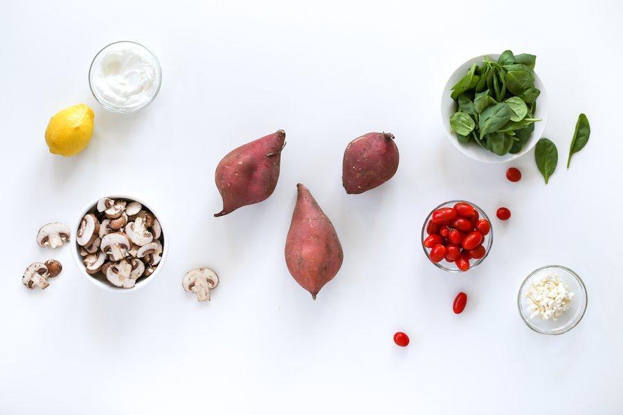 Mushroom Tomato Spinach and Feta Stuffed Sweet Potatoes // Salty Canary