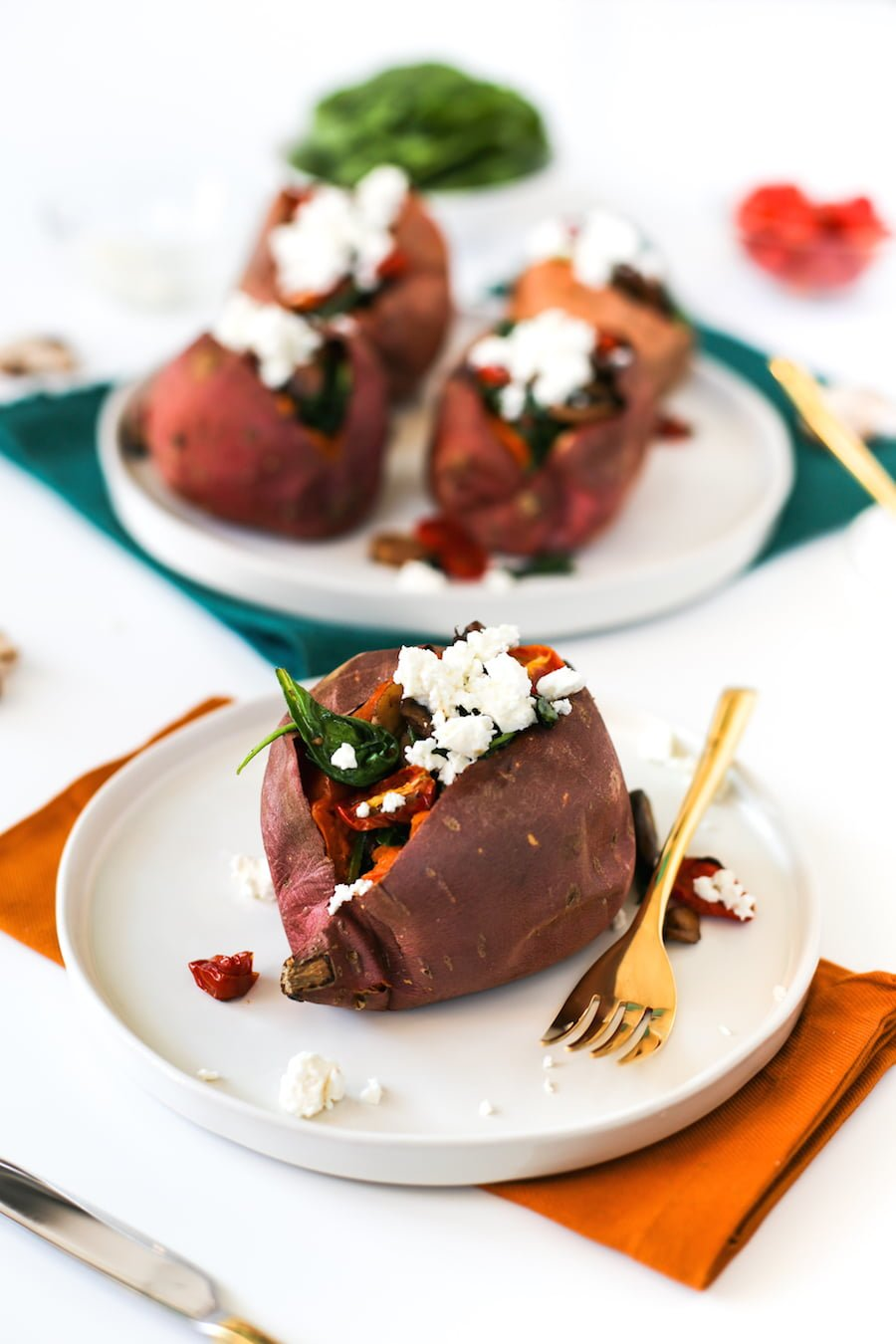 Mushroom Tomato Spinach and Feta Stuffed Sweet Potatoes // Salty Canary
