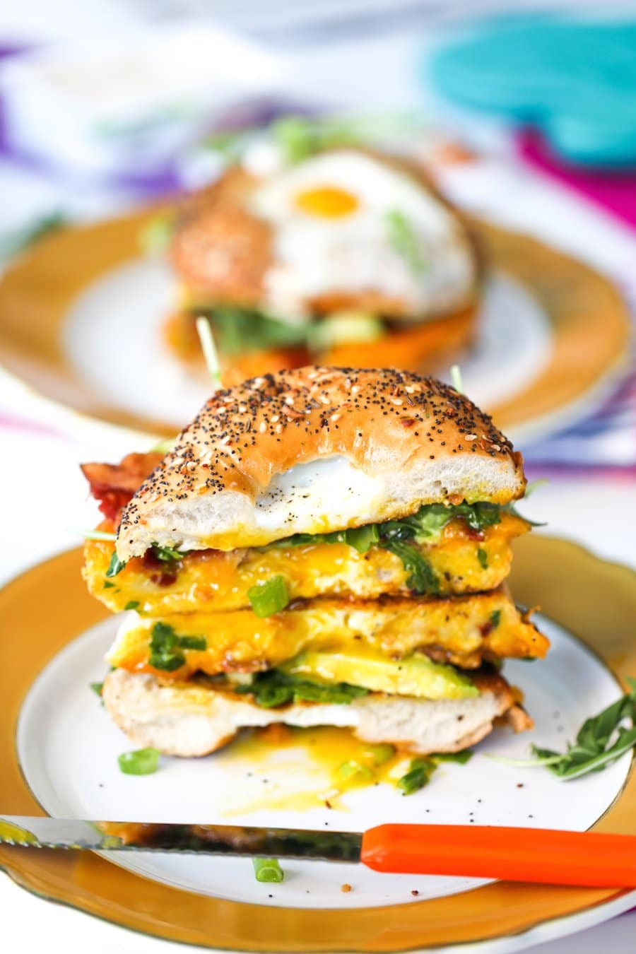 Egg in a Hole Breakfast Bagel Sandwich // Salty Canary
