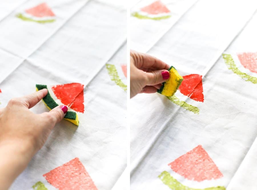 DIY Watermelon Sponge Stamped Tea Towels // Salty Canary