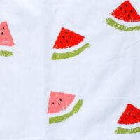 DIY Watermelon Sponge Stamped Tea Towels // Salty Canary