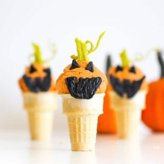 Jack O Lantern Pumpkin Ice Cream Cones // Salty Canary x Studio DIY