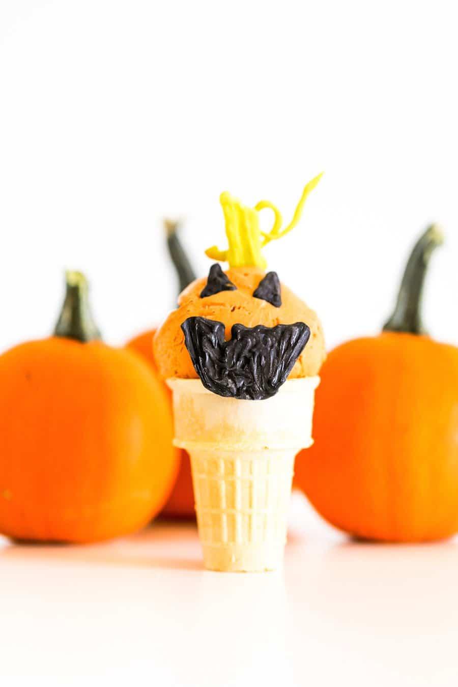 Jack O Lantern Pumpkin Ice Cream Cones // Salty Canary x Studio DIY