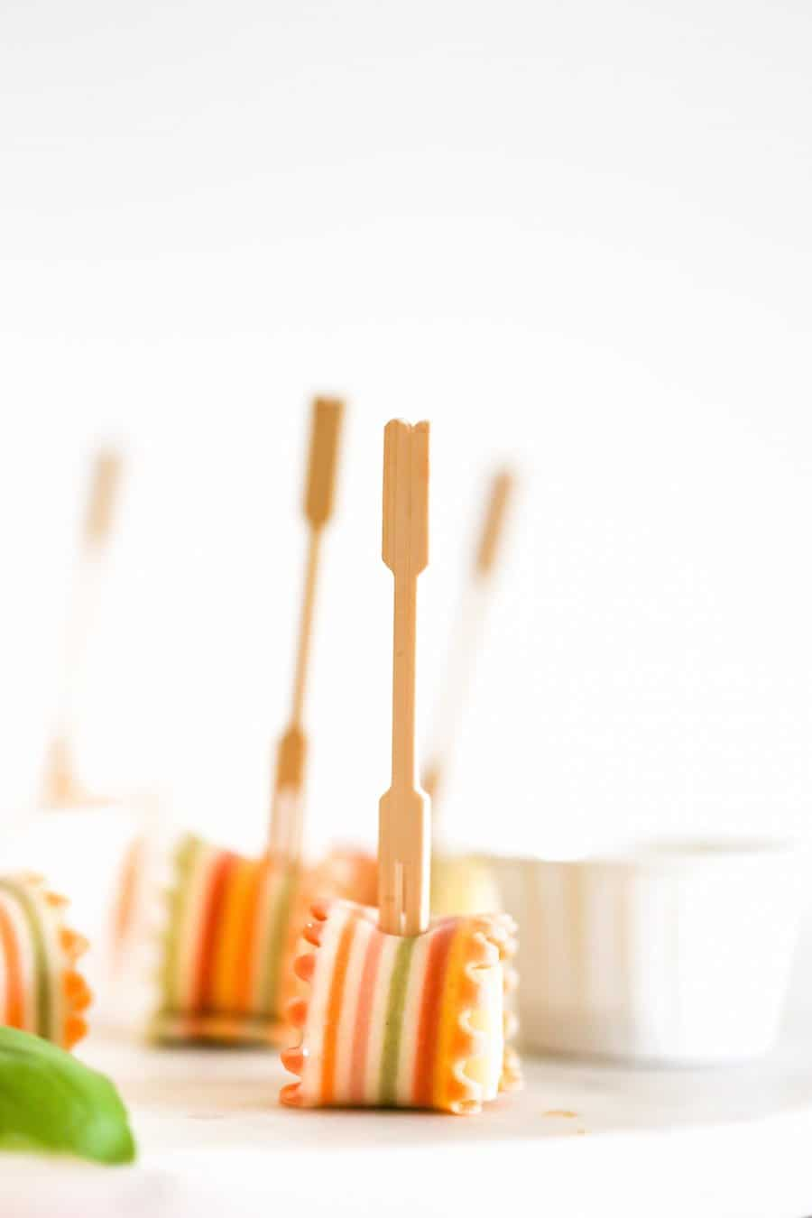 Rainbow Pasta Parmesan Cheese Appetizer on a Stick // Salty Canary